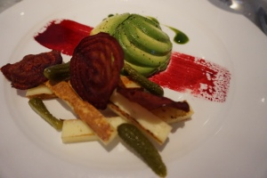 Avocado tartare, cornichons, roasted saganaki, beetroot chips and coriander juice. The cheese is similar to haloumi and from Greece.