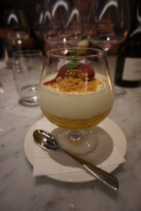 Pina Colada coconut yoghurt mousse, rum pineapple and coconut sponge. A full of wonder that left us all silent as we devoured this delightful dessert.
