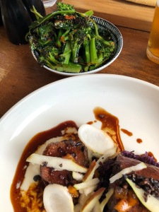 The Venison with a side of broccolini.
